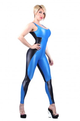 Shiny blue and black -jumpsuit