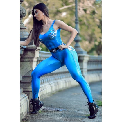 Macacão Fitness Naughty Skeleton Blue Dynamite