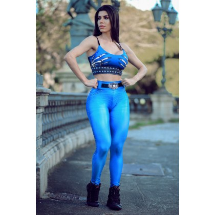Calça Legging Naughty Skeleton BLUE