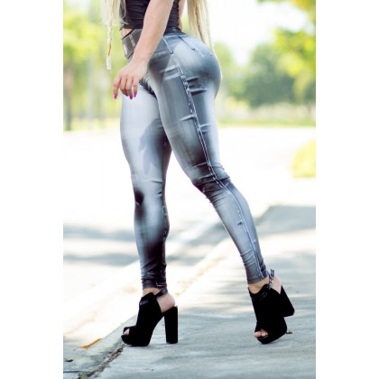 Calça Legging Denim Bodypaint Black Dynamite