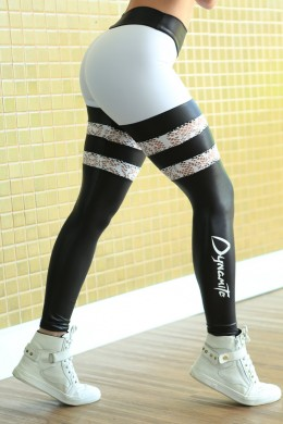 Legging Stripped preto branco