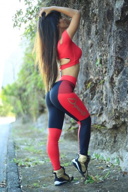Legging Xadrez Red & Black