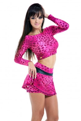 Short saia - Pink Leopard Digital