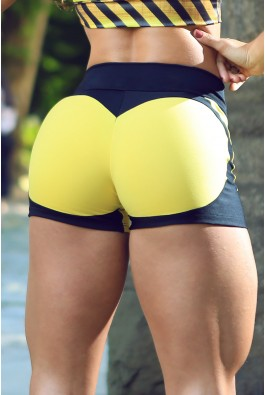 Short Fitness Apple Booty Preto Amarelo Dynamite