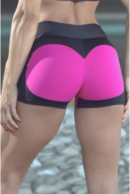 Short Fitness Apple Booty Preto Pink Dynamite